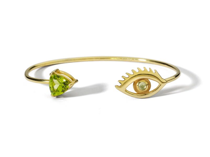 122268_Sterling-silver-gold-plated-bracelet--with-semi-precious-peridot-stones
